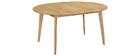 Table à manger design ronde extensible chêne L120-150 cm LEENA