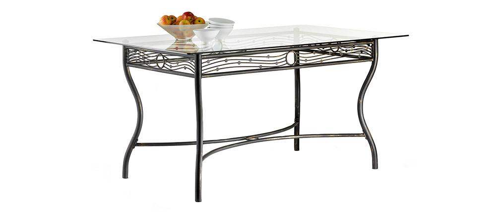 Table à manger en verre et acier rectangulaire Florence