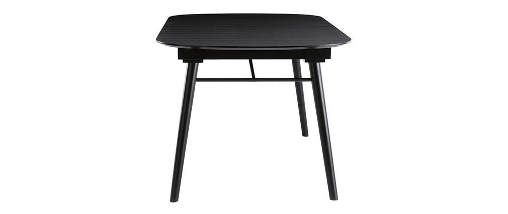Table à manger extensible bois noir et gris L150-180 cm SHELDON