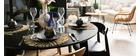 Table à manger extensible ronde noire L120-150 cm LEENA