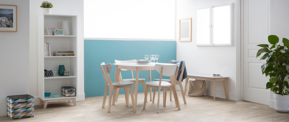 Table à manger extensible scandinave carrée blanche et bois L90-130 LEENA