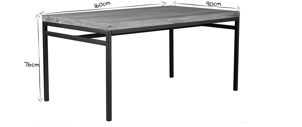Table à manger industrielle 160x90 cm manguier brut et métal YPSTER