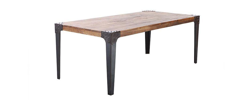 Table à manger industrielle acier et bois L200 MADISON