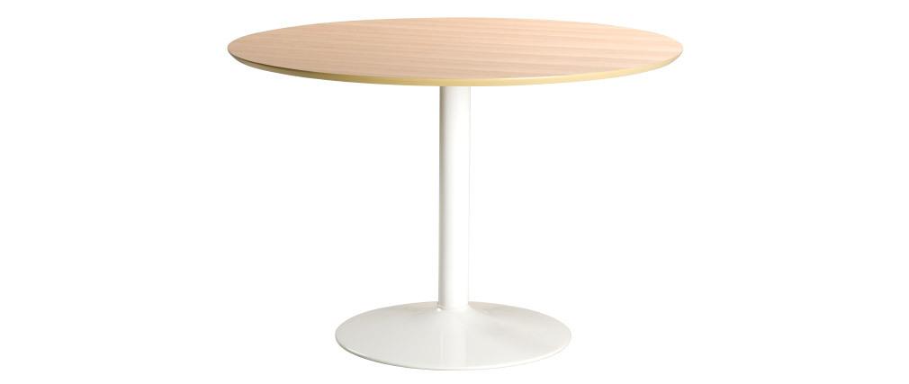 Table à manger ronde bois clair et métal blanc D110 cm KALI