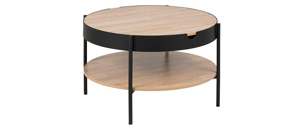 Table basse bois et métal noir 75 cm SUZIE