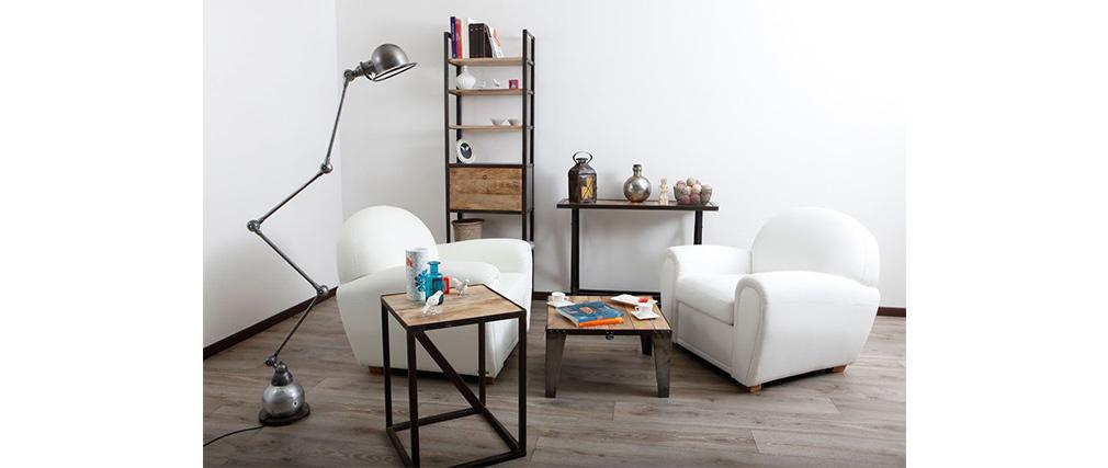 Table basse carrée en manguier massif et acier INDUSTRIA