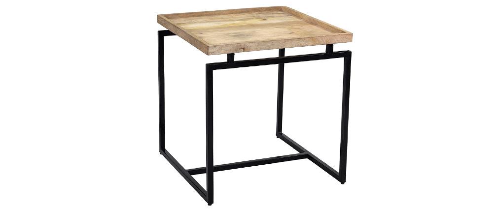 Table basse carrée en manguier massif et métal noir L55 cm FRAME