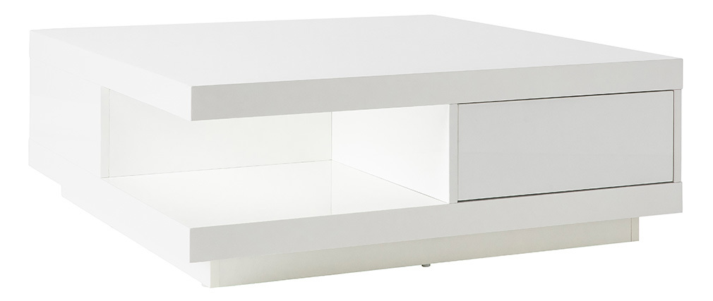 Table basse design 2 tiroirs blanche KARY
