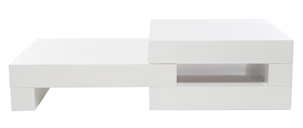 Table basse design blanc brillant LUNA