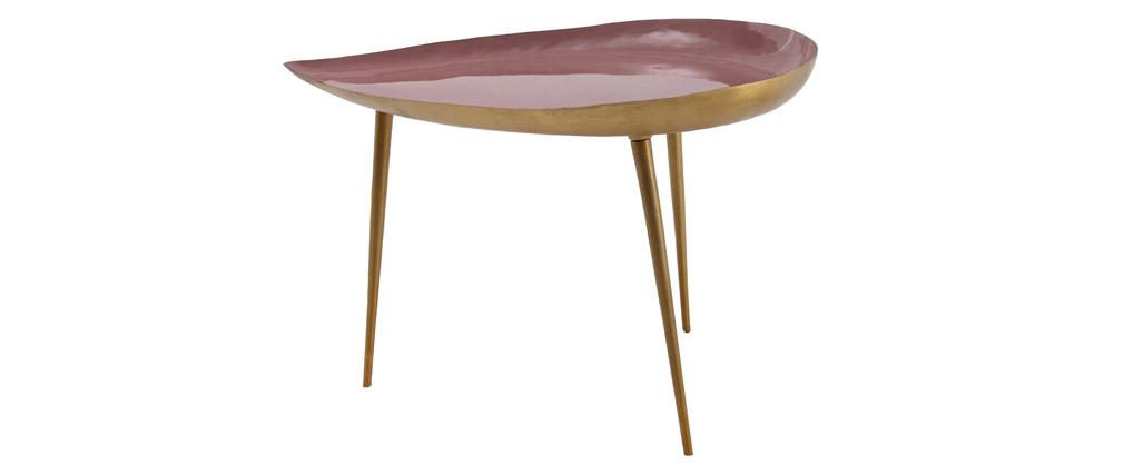 Table basse design en acier laqué rose 80 cm DROP