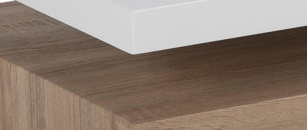 Table basse design laquée blanc brillant et bois SONOMA