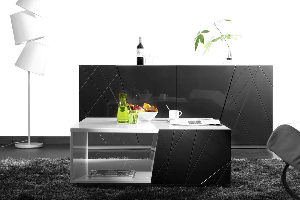 Table basse design laquee noir et blanc homy - Table basse noir design ...
