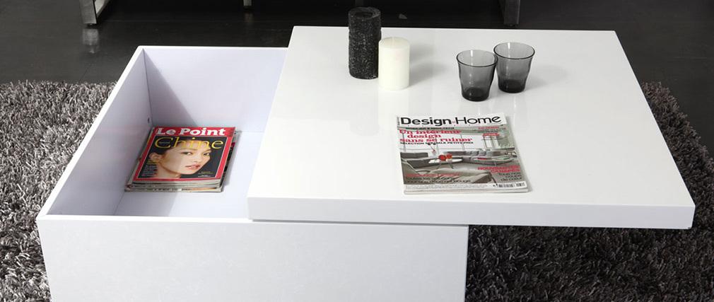 Table basse design laquée blanc JANA