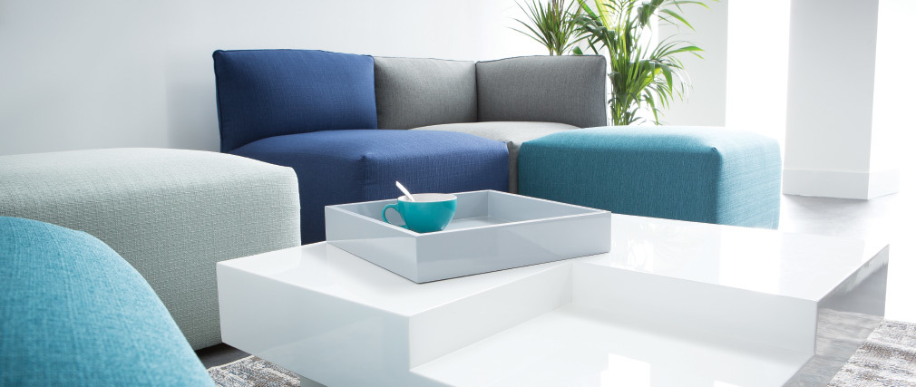 Table basse design laquée blanche plateau gris amovible TEENA