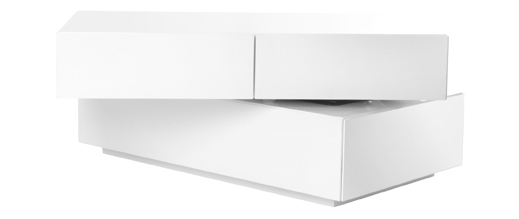 Table basse design pivotante 4 tiroirs blanc elea miliboo - Table basse contemporaine design ...