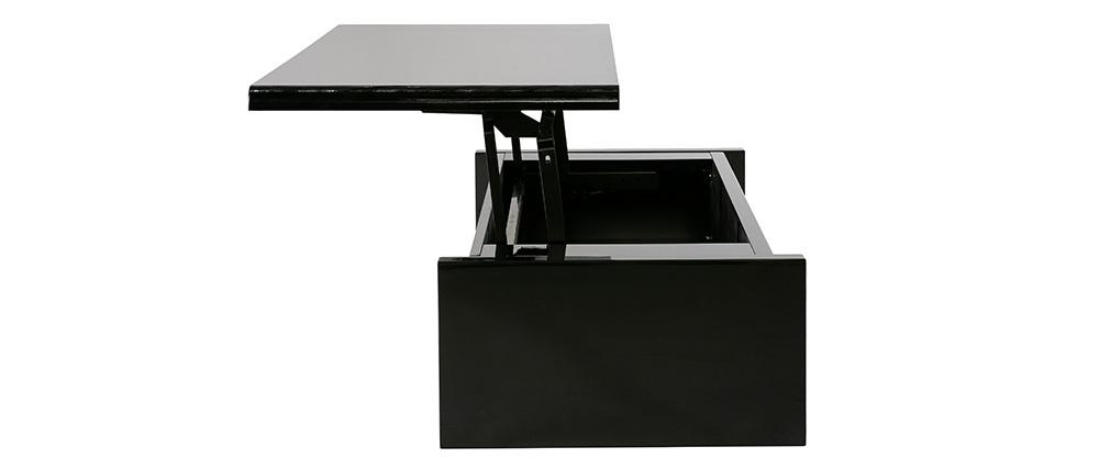 Table basse design réglable noire avec rangement LOLA