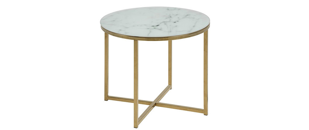 Table basse effet marbre 50 cm SILAS