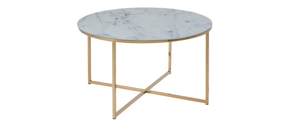Table basse effet marbre et pieds métal 80 cm SILAS
