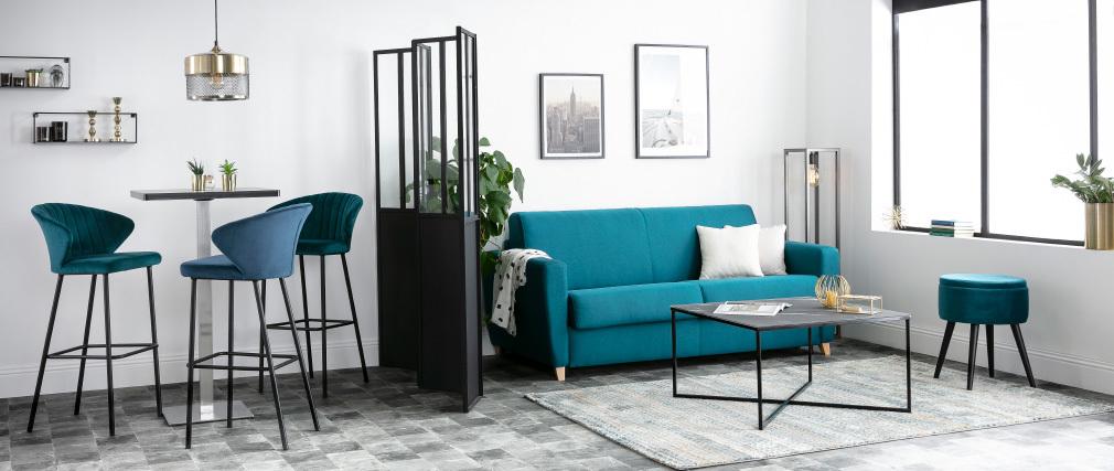 Table basse effet marbre noir bleuté ALCINO