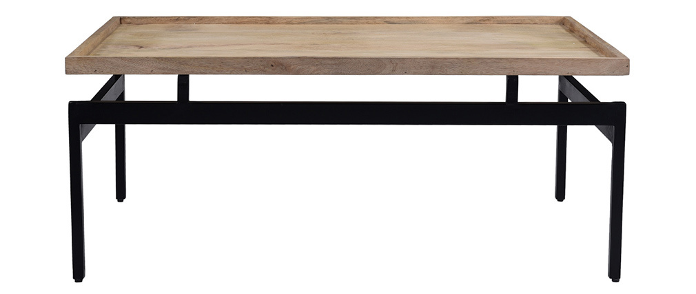 Table basse en manguier massif et métal noir L100 cm FRAME
