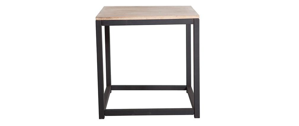 Table basse industrielle bois métal carrée FACTORY