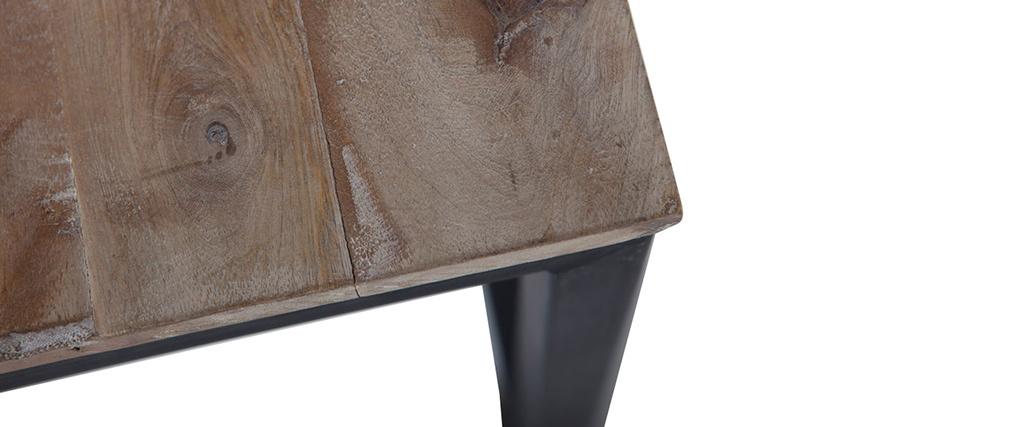 Table basse industrielle carrée en manguier massif et métal FACTORY