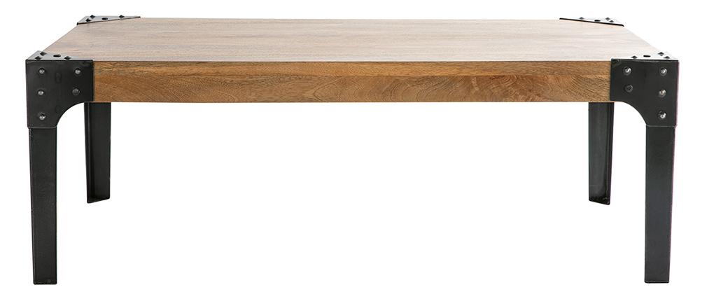 Table basse industrielle métal et manguier massif L120 cm MADISON