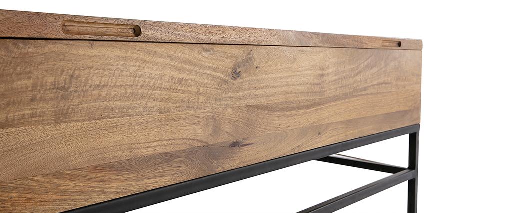 Table basse relevable industrielle manguier et métal 110cm YPSTER