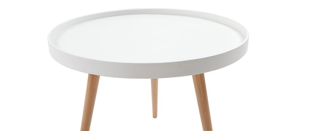 Table basse ronde blanche et bois 60cm RIX