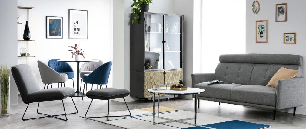 Table basse ronde effet marbre blanc et pieds en métal D80 cm ALCINO