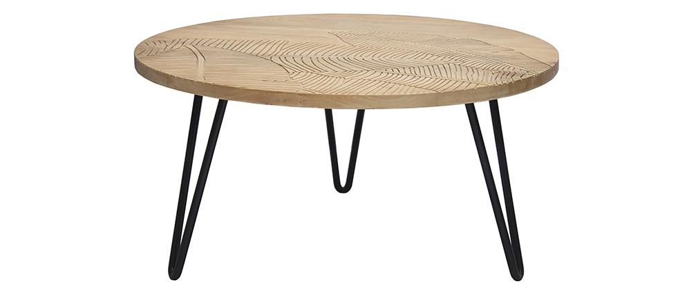 Table basse ronde gravée en manguier et métal noir VIBES
