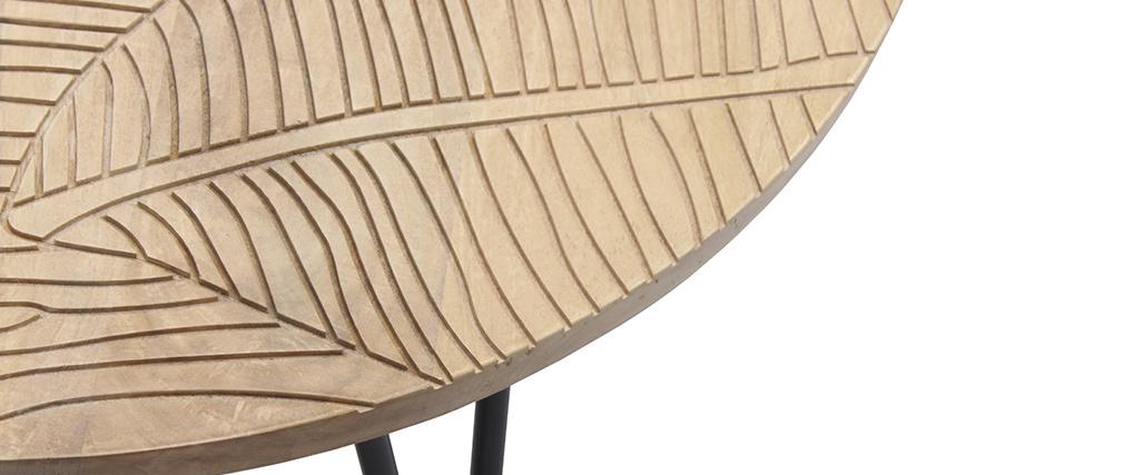 Table basse ronde gravée en manguier massif et métal noir VIBES