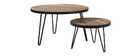 Table basse ronde industrielle en manguier massif D50 x H35 cm ATELIER