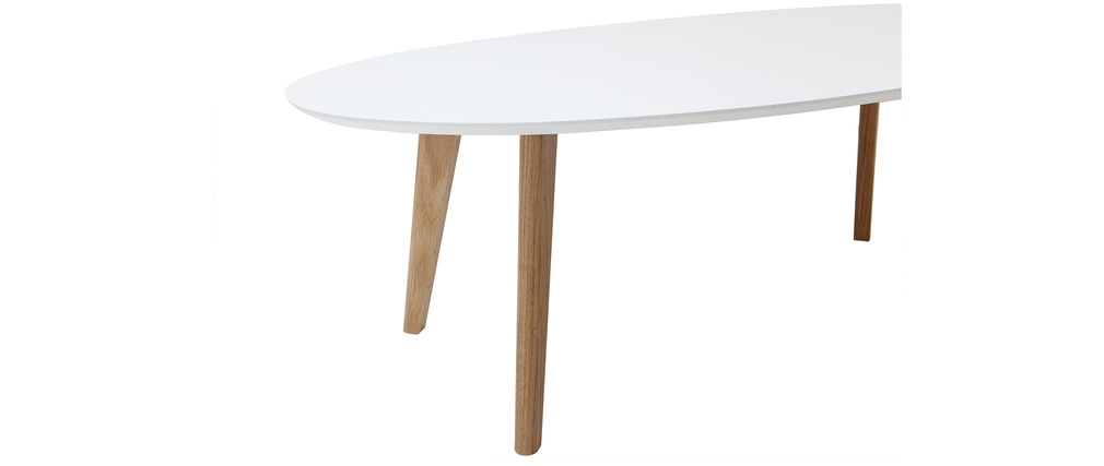 Table basse scandinave blanche L120 cm EKKA