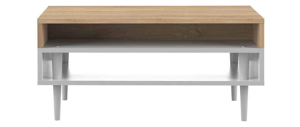 Table basse scandinave bois et blanc STRIPE