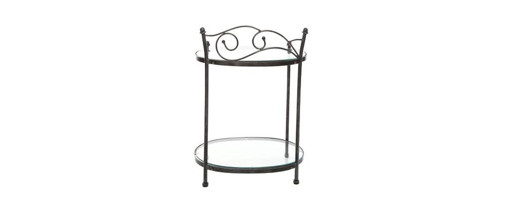 Table de chevet  baroque noire métal VENEZIA