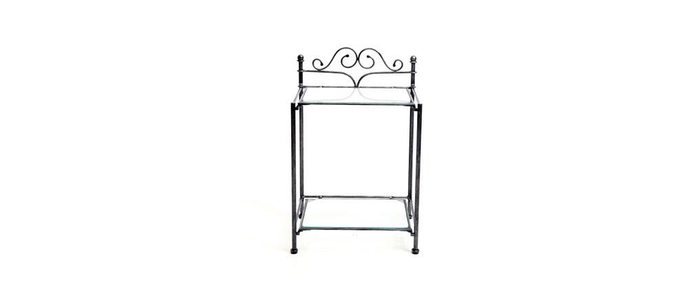 Table de chevet baroque noire métal VICTORIA