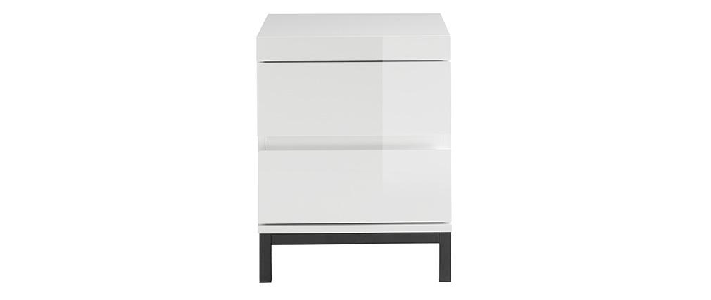 Table de chevet design 2 tiroirs blanc laqué KOLL