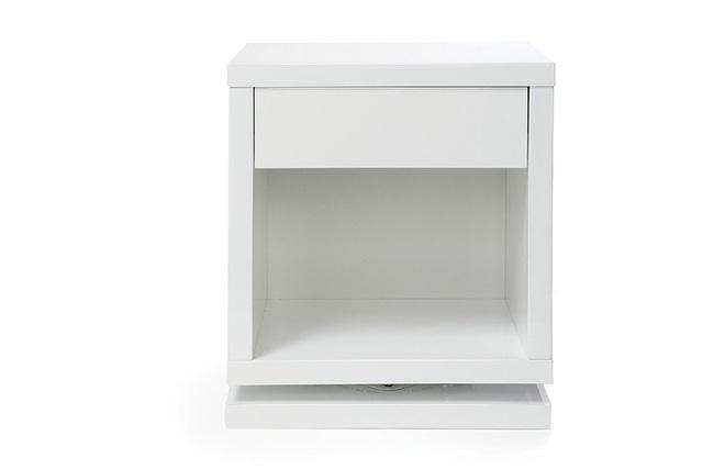 table de chevet design rotative blanc brillant max miliboo - Table De Chevet Laque Blanc Brillant