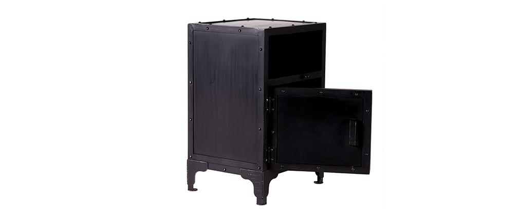 Table de chevet industrielle métal noir FACTORY