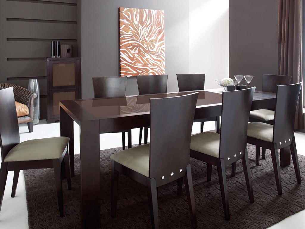table de cuisine salle manger rallonges en ch ne weng et verre tremp marron brandon. Black Bedroom Furniture Sets. Home Design Ideas