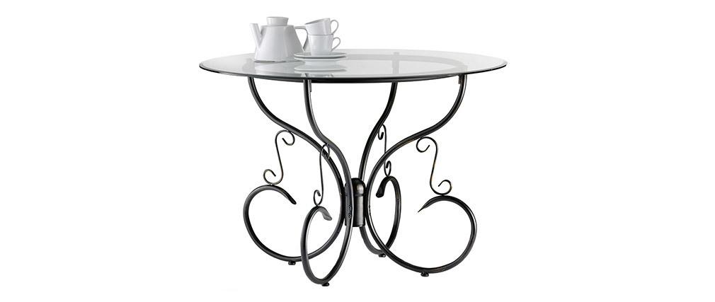 Table de cuisine / salle à manger ronde en verre et acier Florence