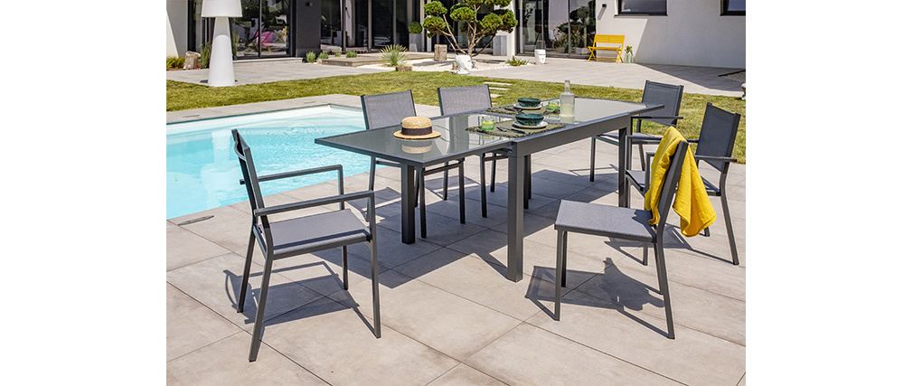 Table de jardin extensible gris anthracite L135-270 cm PORTOFINO