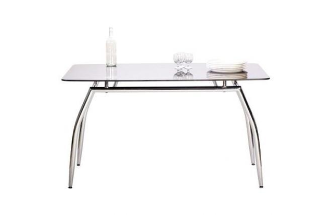 Table de salle manger cuisine design berlin en m tal chrom et verre trem - Table a manger verre trempe ...