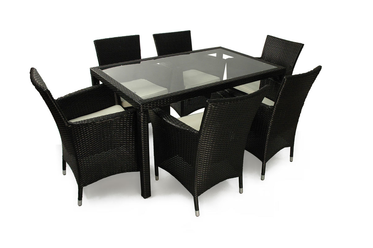 table et chaises de jardin en r sine tress e noir anguilla miliboo. Black Bedroom Furniture Sets. Home Design Ideas