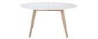 Table extensible ovale blanche et bois clair L150-200 LEENA