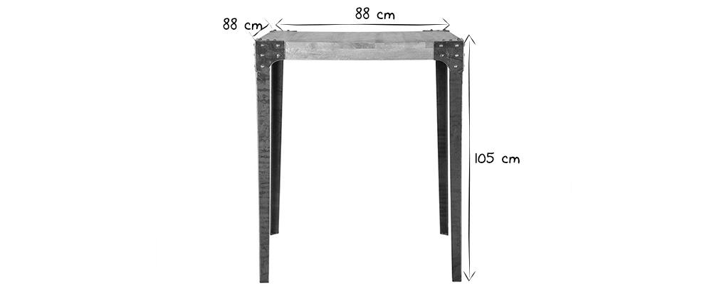 Table haute industrielle carrée en bois et métal MADISON