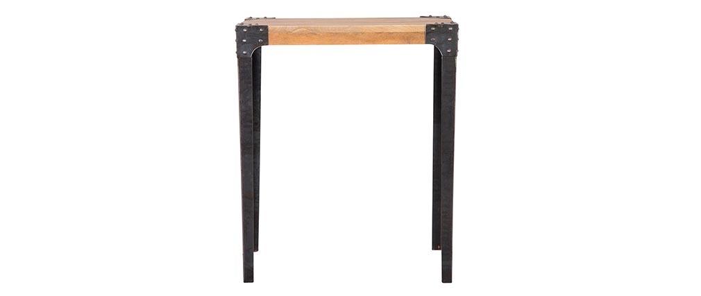 Table haute industrielle rectangulaire en manguier massif et métal MADISON