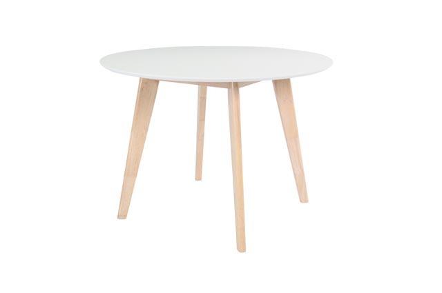 Table ronde blanc et bois 100 cm LEENA