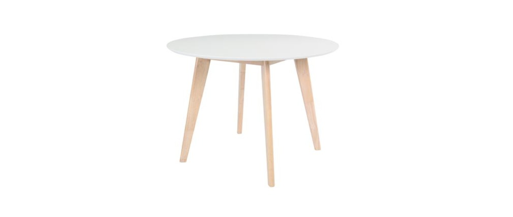 Table ronde blanc et bois D100 cm LEENA